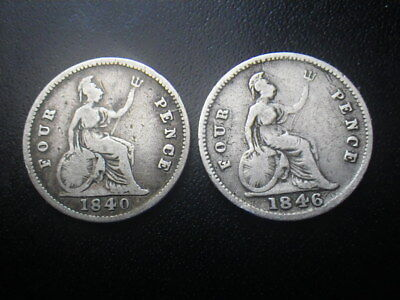 Victoria 1840 & 1846 Fourpence / Groat (aFine)      ..........29