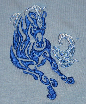 Embroidered Ladies Short-Sleeved T-Shirt - Tribal Horse S1-10 Sizes S - XXL