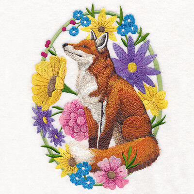 Embroidered Short-Sleeved T-shirt - Woodland Whimsy Fox M14940 Size S - XXL
