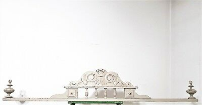 ARCHITECTURAL SHABBY PAINTED PEDIMENT Antique french carved wood crest cornice