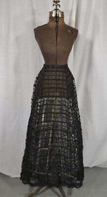 antique skirt Victorian black lace over skirt sheer bustle original 1880 repair