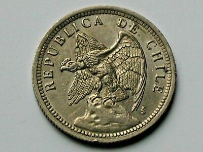 Chile 1933 UN PESO Coin EF+ Toned-Lustre with Condor Bird Animal & 1-Year Type