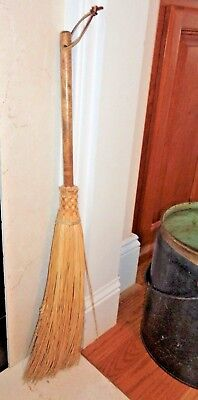 """28"""" Fireplace Hearth Old Fashioned BROOM Natural Wood Bristle Home Decor Chimney"""
