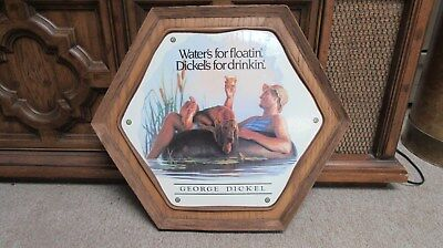 GEORGE DICKEL Whiskey Wall Plaque Picture Bar Sign Man & Dog