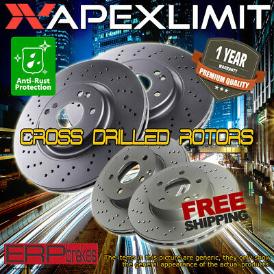 Front & Rear Cross Drill Rotors for 2008-2009 Buick LaCrosse / Allure (Super)