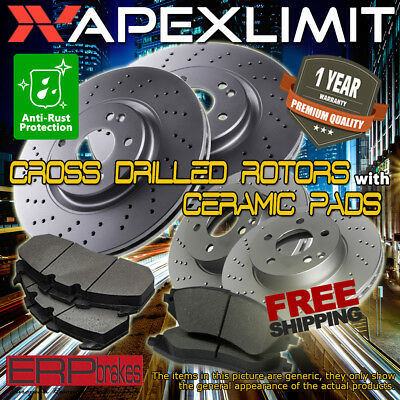 Front + Rear Cross Drilled Rotors & Ceramic Pads for 2011-2014 Ford Mustang 3.7L