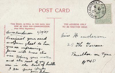 GB NORTH EASTERN TPO UP Edward VII ppc 1907 Railway Topical