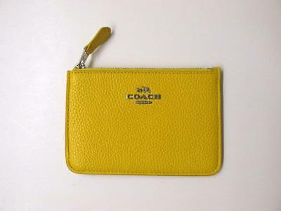 Coach #65566 Pebbled  Canary Leather Key Pouch- $50 Retail