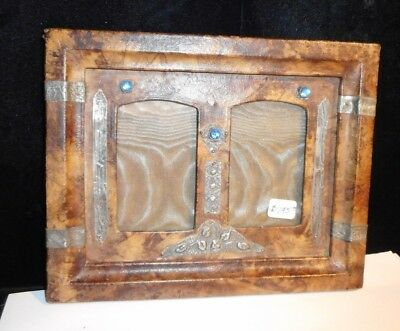 Small Antique French Double Picture Frame Leather Wrapped Repousse Accent Jewels