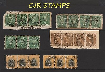 RHODESIA 1913 ADMIRALS   -   6  x  STRIPS OF 3/4   -    MOSTLY FINE USED