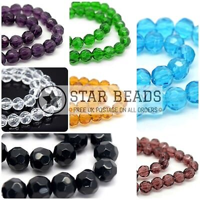 42 X Hand Faceted Round Glass Beads 8Mm - Pick Colour