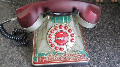 Collectible Coca Cola Light-Up Stained Glass Design Push Button Corded Phone