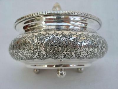 Superb Persian Antique Hand Chased Solid Silver .840 Potpourri Bowl By Biryayi.