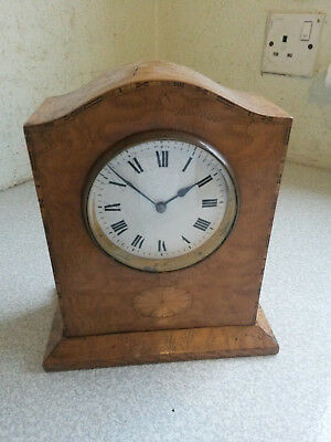 Lovely Jappy Freres Inlaid Wooden French Mantel Clock - Needs Work