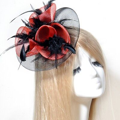 wedding lady fascinator feather mesh hair clip accessory handmade ascot races