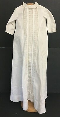 Vintage Victorian White Long Christening Gown Dress W/ Lace & Tucks