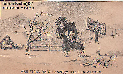 Wilson Packing Co Cooked Meats Old Man in Winter Snow Vict Card c1880s