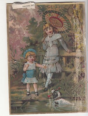 Lion Coffee Woolson Spice Toledo OH Parasol Dog Swimming Pond Vict Card c 1880s