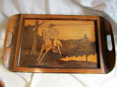 A Vintage Wood Inlaid Serving Tray With Usa Cowboy Decor