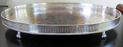 """Vintage Quality 17.75"""" Sheffield Silver On Copper Footed Gallery Tray C1930"""