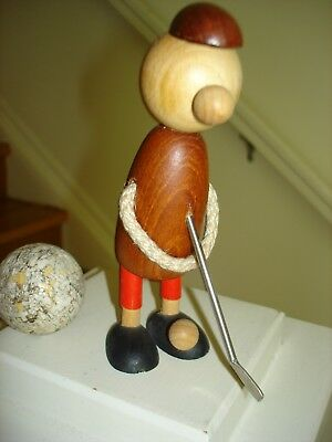 "RARE Vintage Mid Century Danish Teak GOLFER BOTTLE OPENER ""Made In Denmark"""
