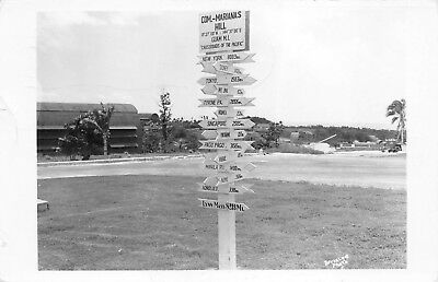 Guam c1945 RPPC Real Photo Postcard Cossroads Of The Pacific Sign APO 264 Army