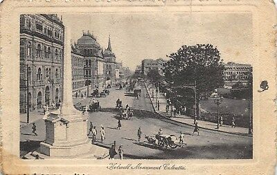 Calcutta India c1916 Postcard Holwell Monument View by Tucks Posted