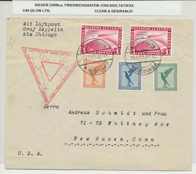 GERMANY -CHICAGO GRAF ZEPPELIN 1933 CHICAGFAHRT 1m(2) +75pf ON COVER, Si#238Bca