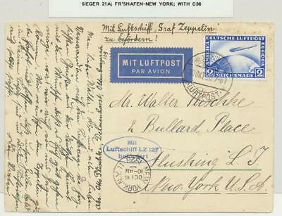 GERMANY -NEW YORK 1928 ZEPPELIN  LZ127 CARD, 2m RATE Si#21A WITH Sc#36