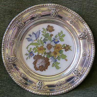 Wallace Rose Point Sterling Silver #6510 Plate w Faux Tapestry Glass Insert