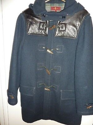 7 for all Mankind Mens Navy Blue Wool Hooded Toggle Zip Jacket Coat SIZE Medium