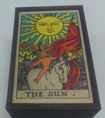 "Made in the USA!  TAROT CARD ""THE SUN"" STORAGE WOOD BOX-NEW"