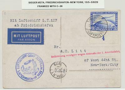 GERMANY -USA, 1929 GRAF ZEPPELIN CARD, 2M (Sc#C36) RATED Si#27A
