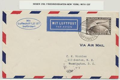 GERMANY-USA 1928 LZ127 ZEPPELIN COVER, 4M RATED Si#21B