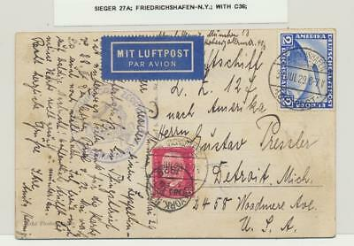 GERMANY- NY 1929 GRAF ZEPPELIN CARD, 2M (Sc#C36) RATE Si#27A