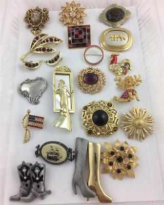 Lot of 18 Assorted Vintage Brooch Pins, 1 Pair Earrings , many signed