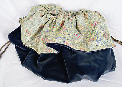 Antique Victorian Lg Velvet Pouch Bag Sewing Knitting Embroidery Calico