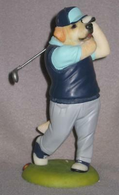 "Robert Harrop ""Doggie People"" Figurine--Golden Retriever Golfer, Driving"