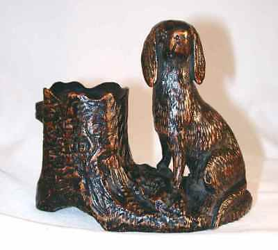 Vintage Carved, Painted, & Lacquered Hardwood Match Holder Dog in Front of Tree