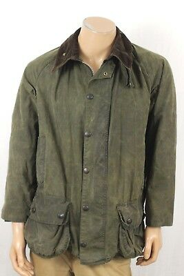 Barbour Beaufort Waxed Cotton Zip Jacket Plaid Lined Mens Size C 42