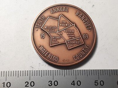 Waterloo (ON) Coin Society - tenth annual banquet medal 1969