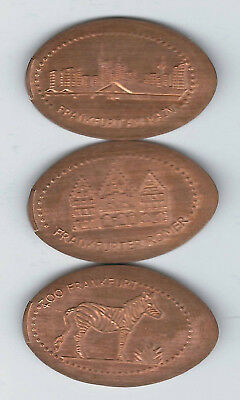 elongated Coin Frankfurt am Main, Pfingstweidenstrasse, kompletter Satz 2466