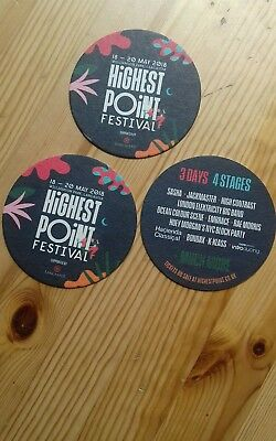 3 Rare Promo Beermats Highest Point Festival May 2018 Lancaster Embrace Cast OCS