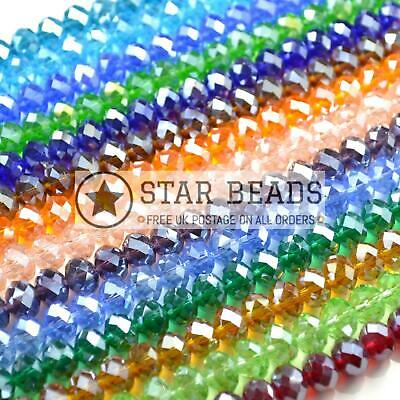 Faceted Rondelle Crystal Glass Beads Lustre 4Mm,6Mm,8Mm,10Mm - Pick Colour