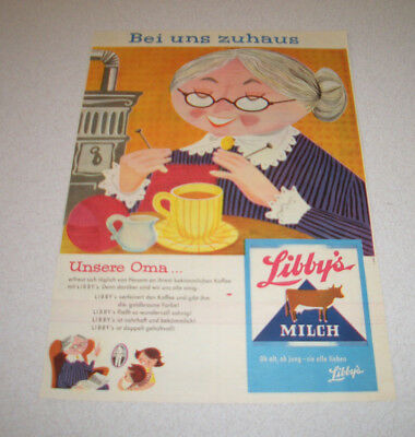 1957 orig. Reklame Werbung Libby`s Milch Bei uns zuhaus  Unsere Oma...