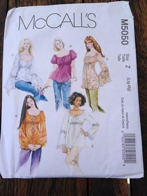 McCall's Sewing Pattern M5050 Misses' Tops & Tunics Sizes Lrg & XL 16-22 Uncut