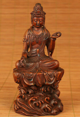 Good Chinese Old Boxwood Handmade Carved Stand Kwan-yin Nanhai Statue