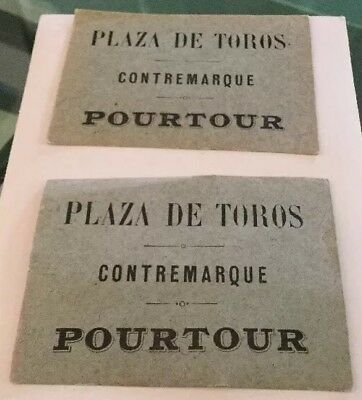 2 TICKETS BILLET ANCIEN Pourtour corrida Marseille 1910