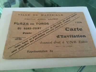 Rare BILLET ANCIEN  corrida Marseille 1904 Toros Carte Invitation