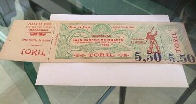 TICKET BILLET ANCIEN  corrida Marseille 1906
